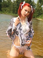 Naughty teen shows off wet panties