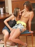 Amanda and Ashlie - Adorable teens strapon fuck pussies