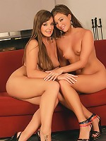 Cate and Natali - Brown haired honeys fuck double toy